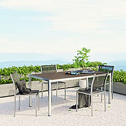 Modway Shore Aluminum Mesh Outdoor Dining Set in Silver/Black