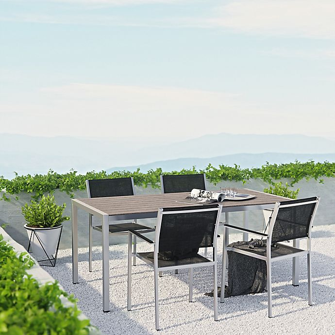 Alternate image 1 for Modway Shore Aluminum 5-Piece Mesh Outdoor Dining Set in Silver/Black