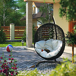 Modway Encase Patio Stand-Alone Swing Chair in Espresso/White
