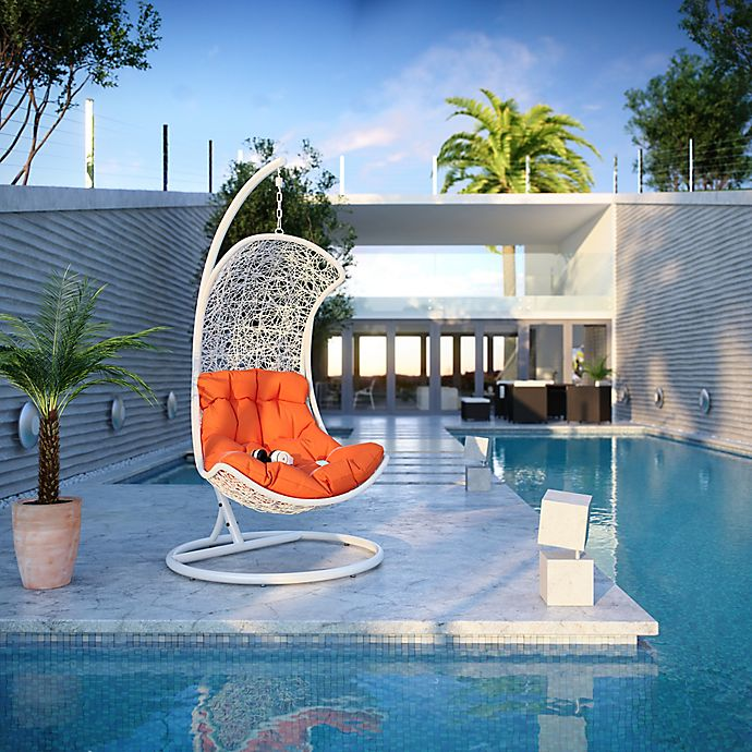Modway Endow Patio Stand Alone Swing Chair In White Orange