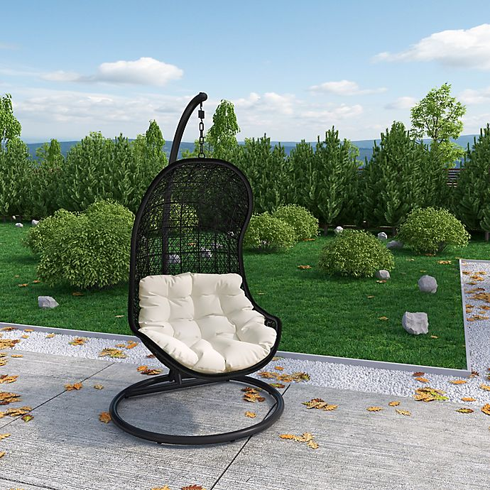 Alternate image 1 for Modway Parlay Patio Stand-Alone Swing Chair in Espresso/White