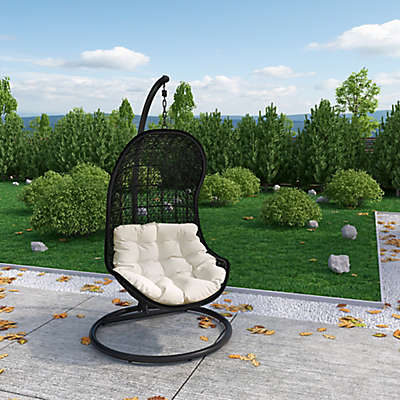 Modway Parlay Patio Stand-Alone Swing Chair in Espresso/White