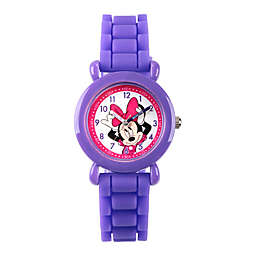 Disney® Minnie Mouse Children's Time Teacher Watch in Purple Plastic with Purple Silicone Strap