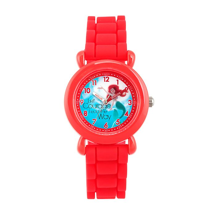 Alternate image 1 for Disney® The Little Mermaid Children's Time Teacher Watch in Red Plastic with Red Silicone Strap