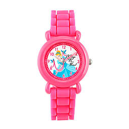 Disney® Cinderella Children's Time Teacher Watch in Pink Plastic with Pink Silicone Strap