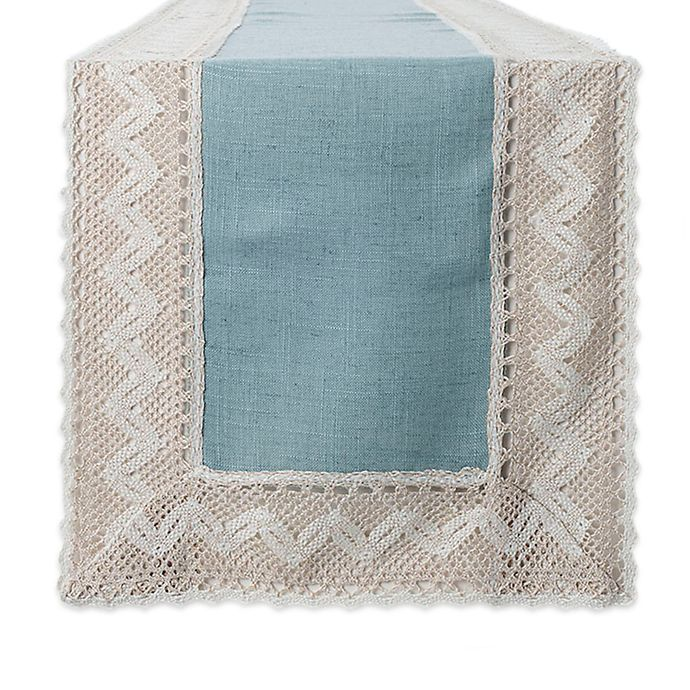 Alternate image 1 for Crochet Lace 72-Inch Table Runner in Blue