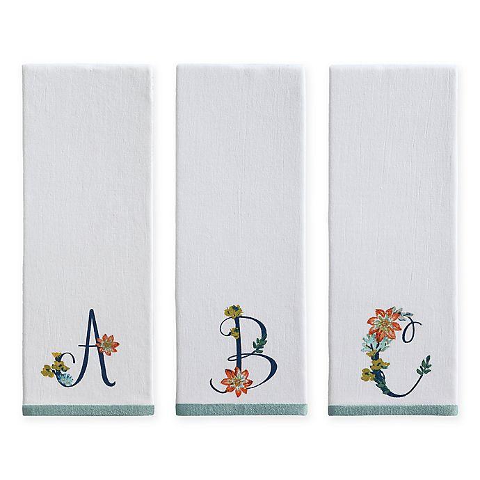 Alternate image 1 for Monogram Floral Kitchen Towel