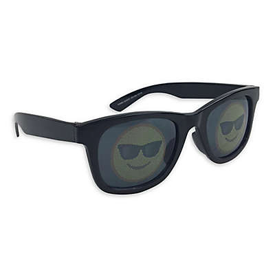 On The Verge Smiley Sunglasses in Black