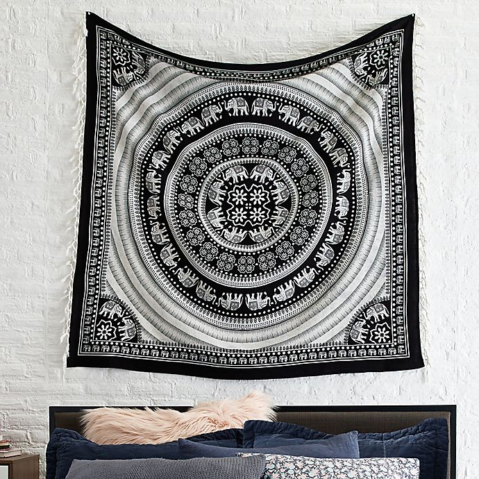 Alternate image 1 for Courtside Market Elephant Tapestry Throw Blanket in Black/White