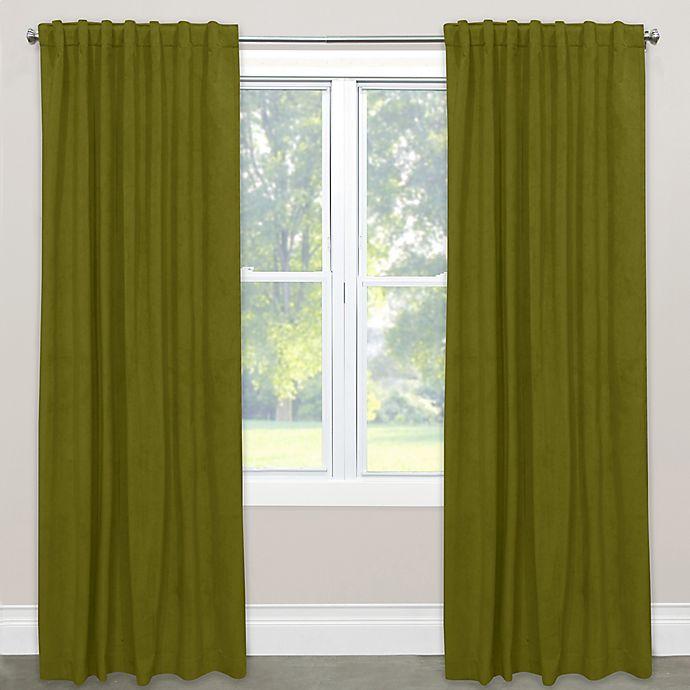 Alternate image 1 for Skyline Velvet 84-Inch Rod Pocket/Back Tab Window Curtain Panel in Apple Green