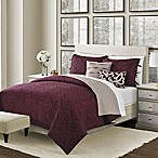 Camber Reversible King Quilt Set in Wine