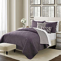 Camber 4-Piece Reversible Twin Quilt Set in Aubergine