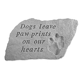 Dogs Leave Paw Prints on Our Hearts Memorial Stone in Grey