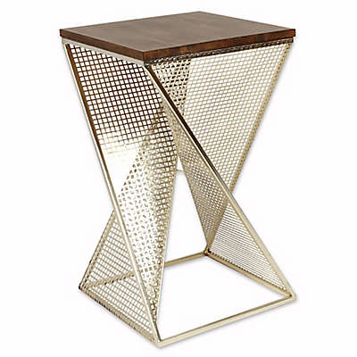 Kate And Laurel Elita Accent Table in Walnut
