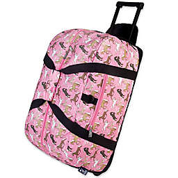 Wildkin 22-Inch Rolling Horses in Pink Duffel Bag in Pink