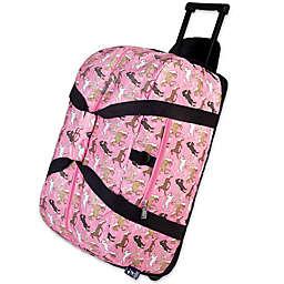 Wildkin 22-Inch Rolling Horses in Pink Duffel Bag in Pink