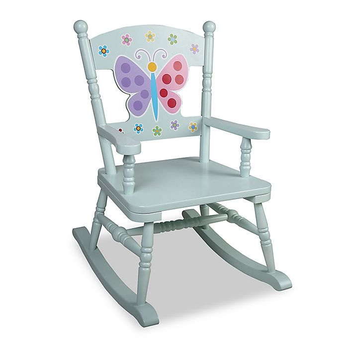 Magnificent Olive Kids Butterfly Garden Rocking Chair In Blue Bed Machost Co Dining Chair Design Ideas Machostcouk