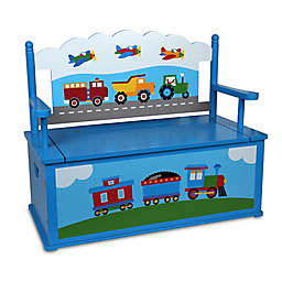 Olive Kids™ Trains, Planes, Trucks Bench Seat with Storage in Blue