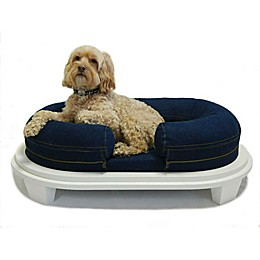 Katherine Elizabeth Orthopedic Pet Bed with White Ottoman in Denim Blue