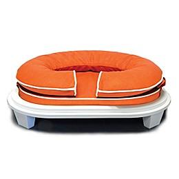Katherine Elizabeth Orthopedic Pet Bed with White Ottoman in Orange