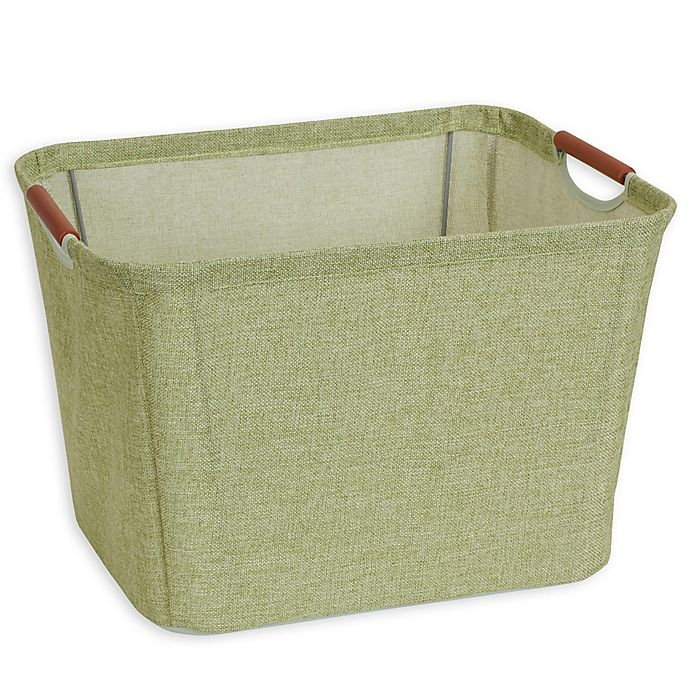 Alternate image 1 for Household Essentials® Tapered Soft-Side Storage Bin with Wood Handles