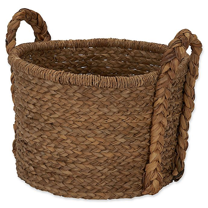 Alternate image 1 for Household Essentials Large Wicker Floor Basket with Braided Handle