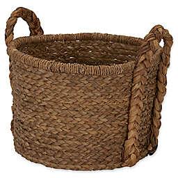 Household Essentials Large Wicker Floor Basket with Braided Handle