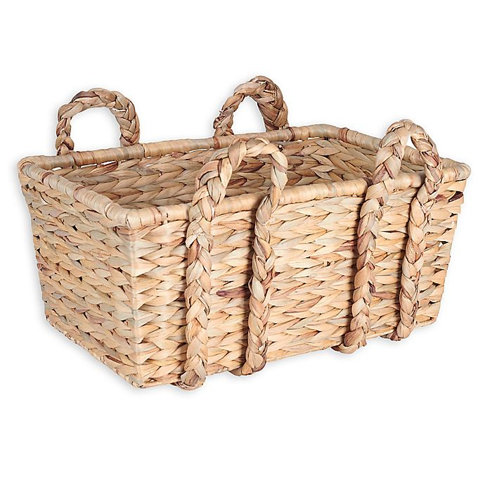 Alternate image 1 for Household Essentials® Large Wicker Basket with Braided Handles in Natural Brown