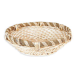 Household Essentials® Large Round Decorative Wicker Basket in Natural Brown