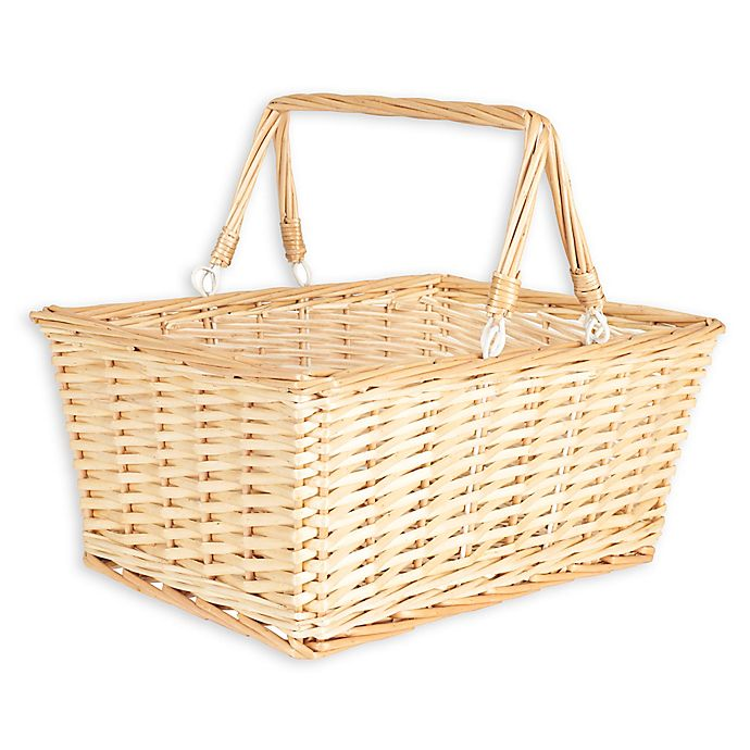 Alternate image 1 for Household Essentials® Open Top Wicker Picnic Basket with Handles in Natural Brown