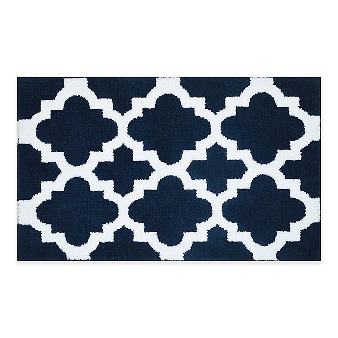 Alternate image 1 for Adelaide Fret Design 20-Inch x 33-Inch Bath Mat in Navy/White