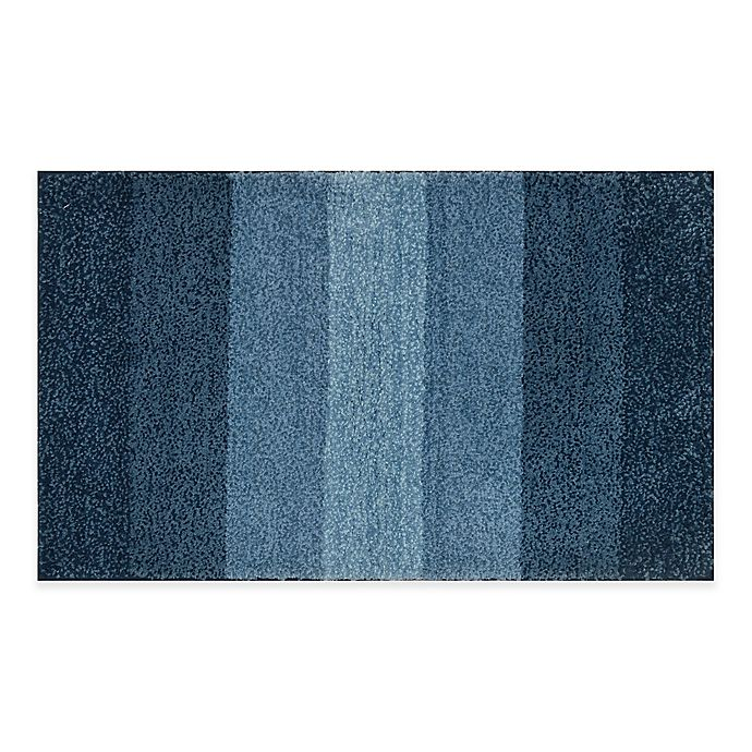 Alternate image 1 for Adelaide Ombré Striped 20-Inch x 33-Inch Bath Mat in Navy