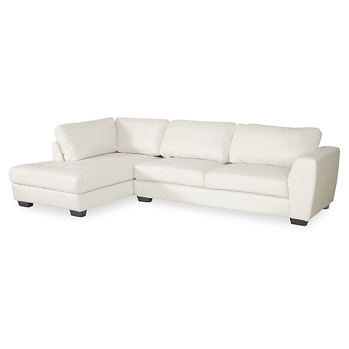 Baxton Studio Orlando 2-Piece Left Arm Facing Faux Leather Sectional ...