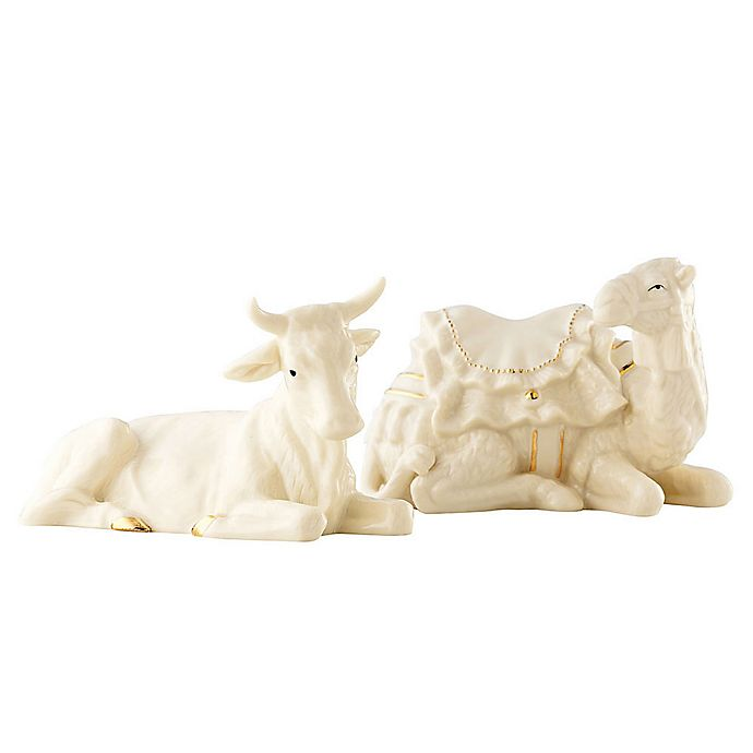 Alternate image 1 for Belleek Holiday Festive Classic Nativity 2-Piece Ox and Camel Manger Set