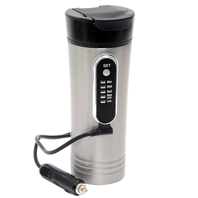 Alternate image 1 for Roadpro® 15 oz. Heated Travel Mug in Stainless Steel