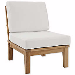 Modway Marina Teak Patio Chair in Natural/White