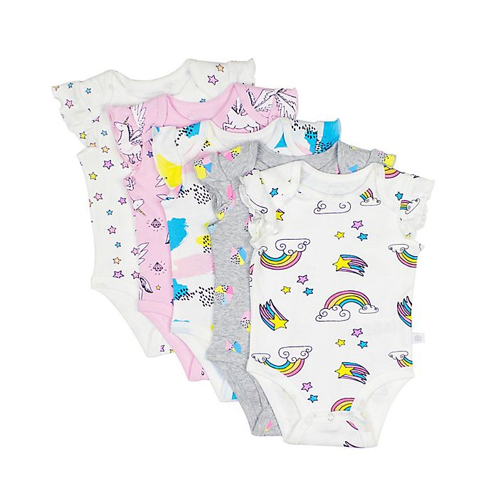 Alternate image 1 for Rosie Pope® 5-Pack Rainbow Bright Flutter Sleeve Bodysuits in Multicolor