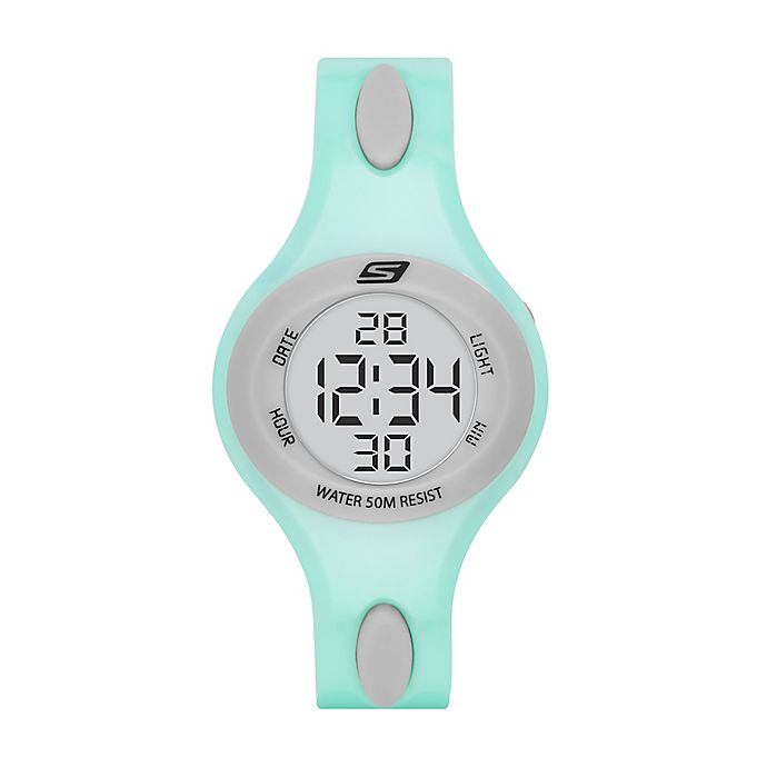 Alternate image 1 for Skechers® Ladies' 34mm Digital Polliwog Watch in Mint Plastic
