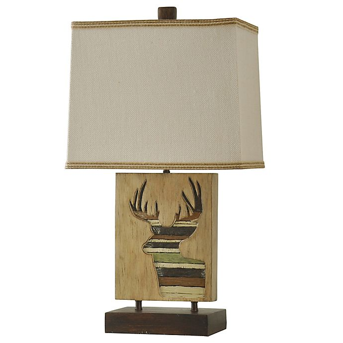 Alternate image 1 for Mossy Oak Resin Table Lamp in Ivory with Hardback Shade