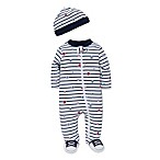 Little Me® Size 9M 2-Piece Striped Sports Star Footie and Hat Set in White