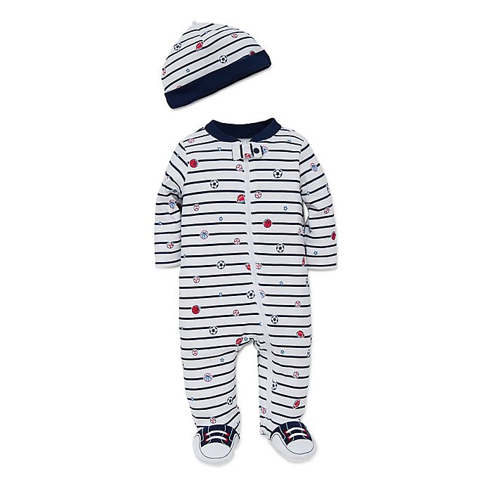 Alternate image 1 for Little Me® 2-Piece Striped Sports Star Footie and Hat Set in White