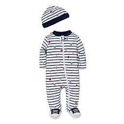 Little Me® Newborn 2-Piece Striped Sports Star Footie and Hat Set in White