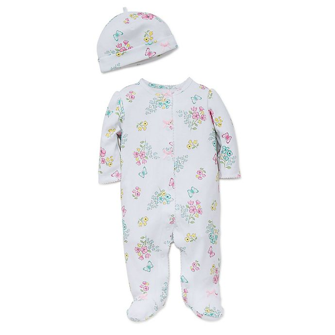 Alternate image 1 for Little Me® 2-Piece Meadow Floral Footie and Hat Set in White/Multicolor