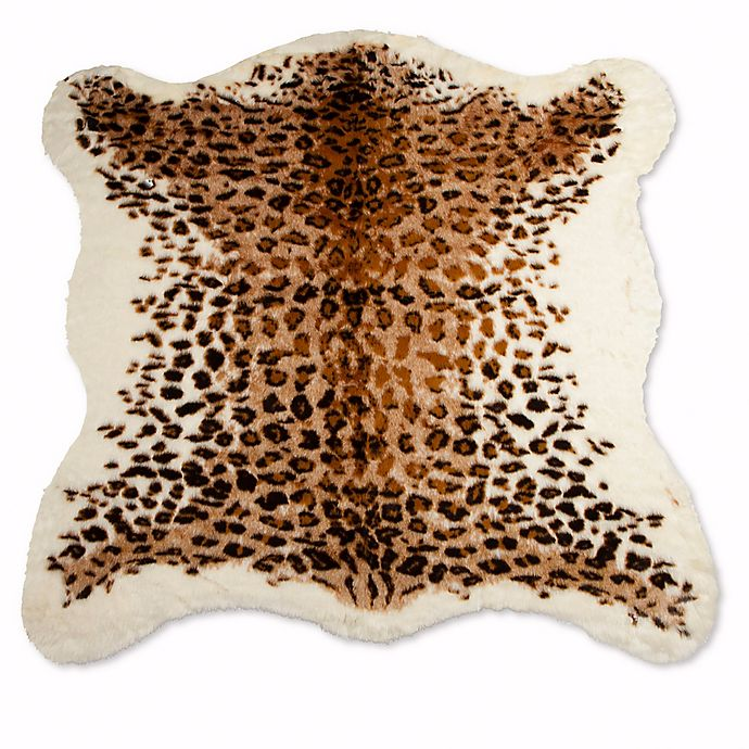Alternate image 1 for Luxe Faux Fur Faux Hide 4-Foot 3-Inch x 5-Foot Rug/Throw in El Paso Leopard