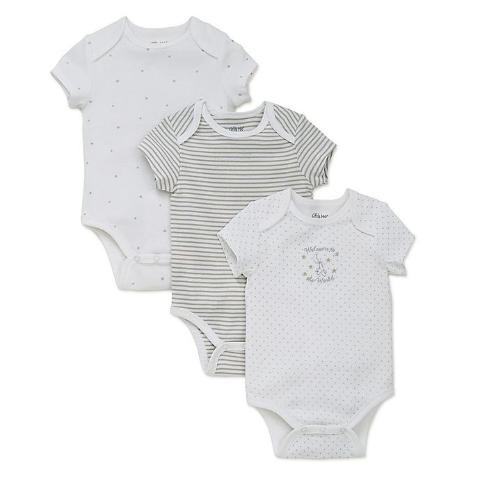 Alternate image 1 for Little Me® Welcome to the World 3-Pack Bodysuit in White