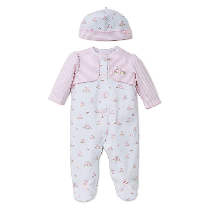 Alternate image 1 for Little Me® Preemie 2-Piece Baby Bunnies Footie with Faux Jacket and Hat Set