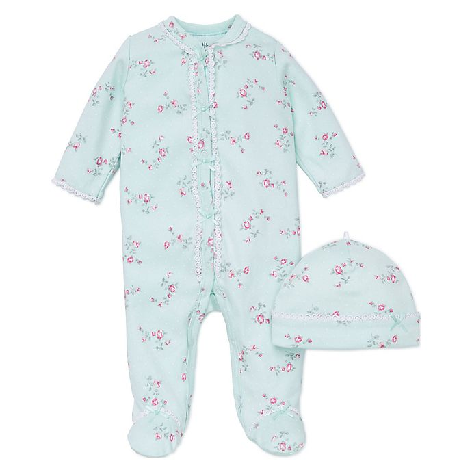 Alternate image 1 for Little Me® Preemie 2-Piece Aqua Flower Footie and Hat Set in Pink
