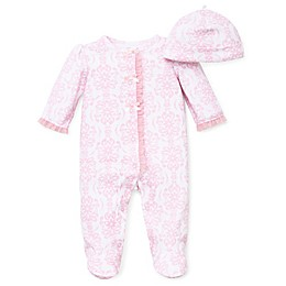 Little Me® Preemie 2-Piece Damask Scroll Footie and Hat Set in Pink