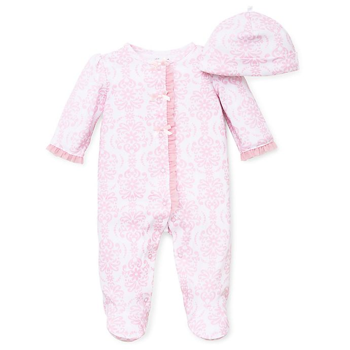 Alternate image 1 for Little Me® Preemie 2-Piece Damask Scroll Footie and Hat Set in Pink
