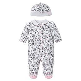 Little Me® Preemie 2-Piece Bird Toile Footie and Hat Set in Black/White